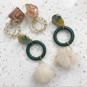 Gold foil pom pom earring set!